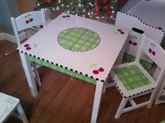 Table and chairs hand painted for kids! By Kelly Sieckhaus CHERRIES