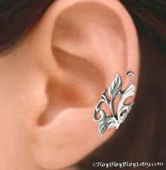 Poppy Flower Leaf ear cuff Sterling Silver Ear by RingRingRing