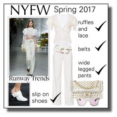 """""""NYFW Runway Trend"""" by constanceann ❤ liked on Polyvore featuring Rodarte, Vince, Chanel, NYFW, lace and ruffles"""