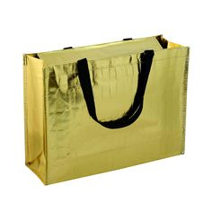 """So cool metallic zippered promotional tote bag, made of 120g non-woven polypropylene with textured gold metallic lamination. 18"""" w x 12.5"""" h x 6"""" d. 20"""" webbing handles. Covered top with zipper closure. Available for 1-4 spot color screen printing. Great for shopping, tradeshow or any promotional use!"""