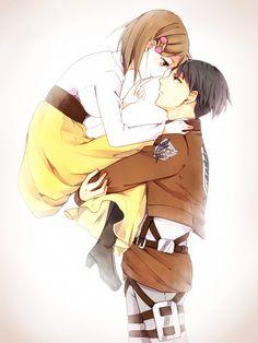 Petra x Levi Rivetra anime couple attack on titan Levi holding Petra