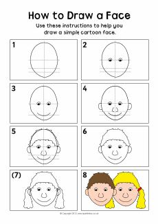 How to draw a face instruction sheet (SB8288) - SparkleBox