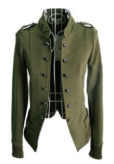 Buy the cheapest fashion @ www.kpopcity.net!! Army Green Plain Buttons Wrap Cotton Blend Coat, via Cichi. I need to replace my structured utility jacket. I think this would do the trick!