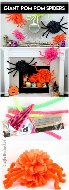Learn how to create giant pom pom DIY Halloween spiders for any room in your home. Easter Bunny Decorations, Halloween Decorations, Craft Stick Crafts, Easy Crafts, Diy Halloween Spider, Harry Potter Party Decorations, Halloween Birthday, Birthday Ideas, Spider Crafts