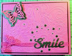 Used a Darice embossing folder 4 different ways.  This is the straight emboss.