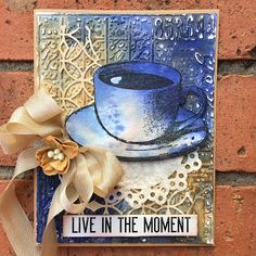 SewPaperPaint: Mixed Media Coffee Card with Embossing Folder; Mar 2017 #sewpaperpaint #darkroomdoor #mixedmedia  NTS: use my Tim Holtz tea cup