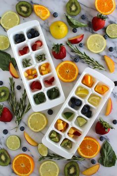 Fruit Infused Ice Cubes - Getting bored with the taste of just plain old water? Fruit infused ice cubes are a GREAT little time saver and adds natural variety easily. - Fruit Infused Ice Cubes via This Beautiful Day Fruit Ice Cubes, Flavored Ice Cubes, Lemon Ice Cubes, Colored Ice Cubes, Flower Ice Cubes, Ice Cube Trays, Infused Water Recipes, Fruit Infused Water, Juice Recipes