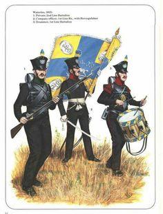 Fuciliere del 1 btg., ufficiale e tamburo del 2 btg. fanteria prussiana