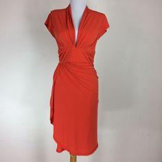NWT Zac Posen Z Spoke Dress Size 2 Orange Wrap Style V Neck Gathered Hourglass #ZacPosen