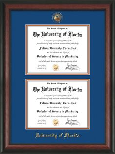 Double diploma frame for 85 x 11 diplomas solid cherry fade university of florida diploma frame rosewood wuf embossed seal name double diploma royal blue on orange mat solutioingenieria Image collections