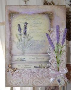 Shabby-chic-Vintage-Bild-lavendel-Mixed-Media-Lablanche-Frankreich-Paris-Provenc