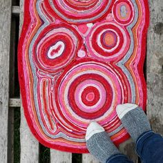 Have fun recycling your old wool sweaters into a gorgeous DIY felt rug. No sewing required to make this colourful and unique handmade rug for your home. Recycled Sweaters, Wool Sweaters, Affordable Rugs, Needle Felting Tutorials, Felt Birds, Felted Slippers, Upcycled Crafts, Nuno Felting, Felt Diy