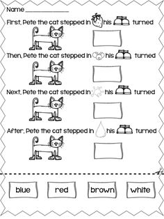 Pete the Cat is the go-to book for many classrooms. Here are free Pete the Cat activities, videos and books - perfect for kindergarten and first grade. Pete The Cat Shoes, Pete The Cats, Kindergarten Reading, Teaching Reading, Teaching Ideas, Word Reading, Teaching Resources, Cat Activity, Activity Sheets