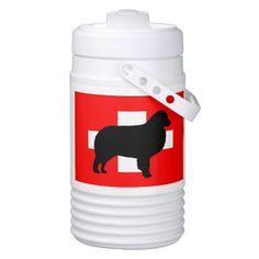 bernese mt dog silhouette switzerland flag beverage cooler