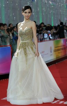 Pics from the Bejing International Film Festival. We totally dig this dress, which could totally be pulled off by a bride. What do you think?