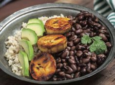 Cuban Brown Rice Bowl with Sweet Plantains