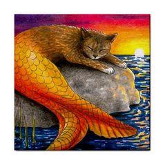 Ceramic Tile Coaster or Framed Tile Cat Mermaid 30 Ocean Art Painting L Dumas   eBay
