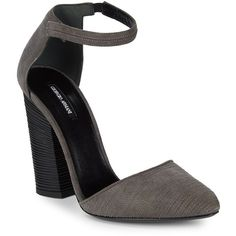 Giorgio Armani Stitched Suede Block Heels ($300) ❤ liked on Polyvore featuring shoes, pumps, ankle tie pumps, suede pumps, ankle strap shoes, block-heel pumps and stitch shoes