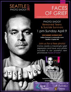 Seattle photo shoot for bereaved teens and suicide survivors! Come by for a free photo shoot pairing visual art with self expression to capture your personal grief journey in our powerful new book Faces of Grief. Info: hello@facesofgrief.com