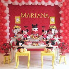 decoração mesa tema minnie vermelha