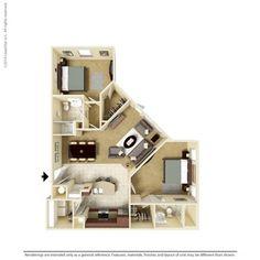 2 Bedroom 1151 Sq Ft B2-2 Ooltewah, TN Integra Preserve Floor Plans   Apartments in Ooltewah, TN - Floor Plans