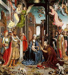 Jan Gossaert, L'adoration des Mages, 1510 - 1515, 177,2 x 161,8 cm, Huile sur bois, National Gallery, Londres (Royaume-Unis)