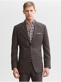 Tailored brown plaid wool two-button suit blazer
