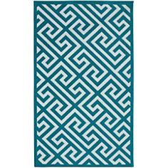 Garland Rug Greek Key Area Rug, 5 by 7-Feet, Teal/White