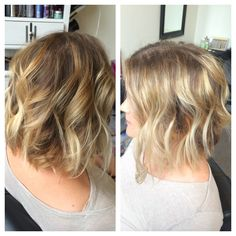 Sombre blonde highlights with textured angled bob #sombre #angledbob #texture