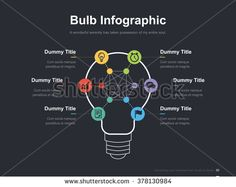 Flat business presentation vector slide template with idea bulb diagram