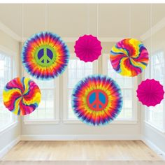 Pack of 6 1960s Groovy Paper Fan Decorations - Click to enlarge
