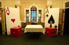Athens GA Event Planner | Natalie Bradley Events Portfolio | Soiree by Natalie | Wedding and Event Design by Natalie Bradley | Athens Wedding Professionals | Soirée by Natalie Bradley Events, casino themed entry, giant playing cards and dice, casino theme