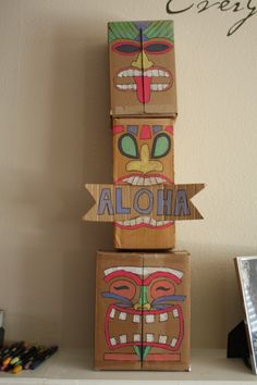 I made this tiki totem for our Blue and Gold Banquet/Luau! More