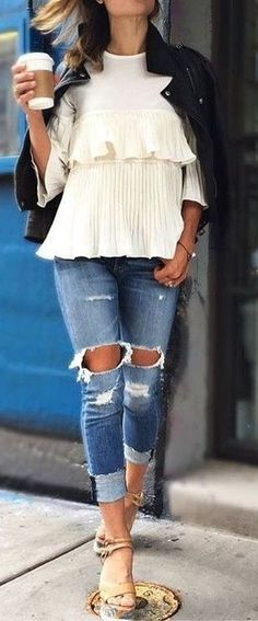 #summer #fashion #outfitideas Black Leather + White Ruffles + Denim