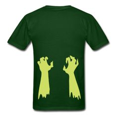 Glow-in-the-dark zombie arms claw their way out of your pants on both sides of this creepy T-shirt! $16.00 #halloween #zombie