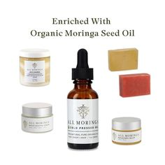 Moringa products for skin enriched with organic Moringa Oleifera seed oil Moringa Oil, Natural Moisturizer, Natural Face, Pure Products, Skin Products, Seed Oil, Whiskey Bottle, Plant Based, The Balm