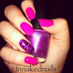 Pink with purple ring finger leopard mani