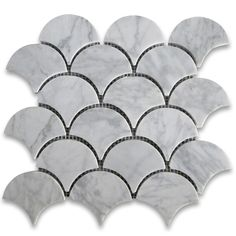 Carrara White Grand Fish Scale Fan Shaped Mosaic Tile Honed..kitchen backsplash