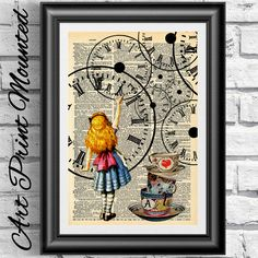 Original dictionary art book page print Alice in Wonderland Steampunk clock gift. Art Print on Antique Dictionary Book Page Published in 1867. Art Print fully mounted (ivory mount and back mount included in a sealed transparent bag). Intheframe UK