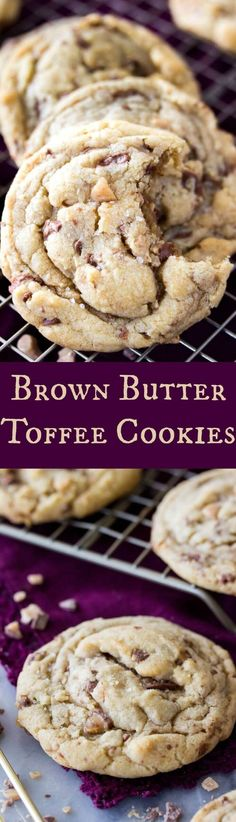 Sweet, soft cookies packed with toffee pieces and just slightly salted.  These Brown Butter Toffee Cookies are bound to be your new favorite!