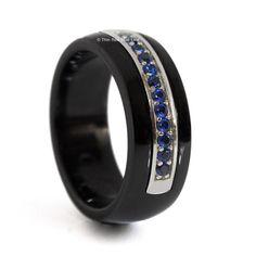 Thin Blue Line Ceramic Ring with 12 Blue CZs