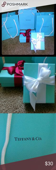"""Tiffany & Co. Set of Bags/Boxes Authentic!! Bags: 5""""x6"""" Boxes are Bracelet Boxes.  Authentic Ribbons Included! Tiffany & Co. Jewelry Bracelets"""