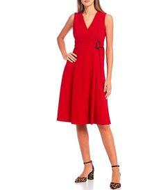Calvin Klein Sleeveless Surplice V-Neck Side Buckle A-Line Dress | Dillard's Coat Sale, Boots For Sale, Winter Coat, Dillards, Hemline, Latest Trends, Calvin Klein, Dresses For Work, V Neck