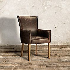 Aiden Leather Dining Arm Chair In Brown And Weathered