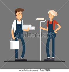 Couple of house painter vector flat characters with paint equipment. Young man and woman friendly smiling workers in workwear standing isolated holding roller and paperhangings