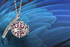 instead of (from Marcus Emporium) for a 'guardian angel' soundball necklace - choose from four colour combinations and save White Gold Sapphire Ring, White Gold Rings, Guardian Angel Necklace, Sapphire Pendant, Latest Jewellery, Things To Buy, Birmingham, Free Gifts, Angeles