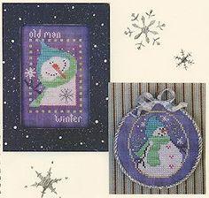Vals Stuff - Old Man Winter uses Kreinik metallic threads in cross stitch.