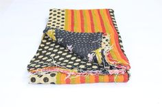 Indian Cotton Kantha Reversible Cotton Kantha  Quilt/Handmade Kantha Quilt /Blanket TWIN-16 by Rajasthanhat on Etsy