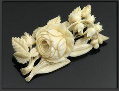 Carved Ivory Brooch with Floral Design
