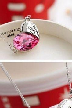 Pink heart love Swarovski necklace